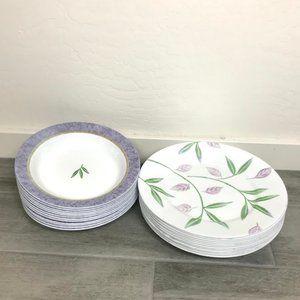 Corelle Purple & Green Dinner Plates & Soup Bowls